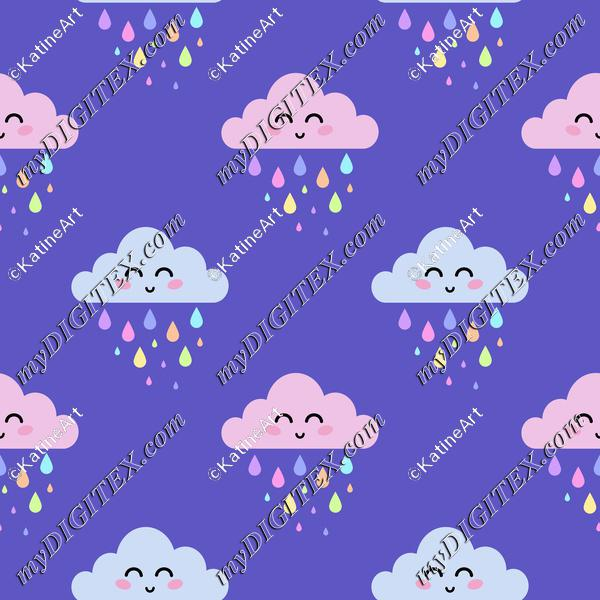 Pastel rainy clouds with rainbow raindrops on dark violet background