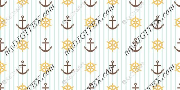 Nautical steering wheel and anchors with blue stripes
