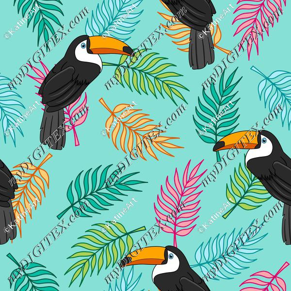 Tropical toucans on colorful palm tree leaves