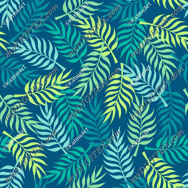 Tropical palm tree leaves on navy background