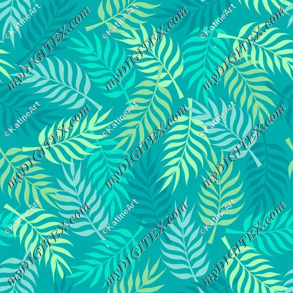 Tropical palm tree leaves on blue background