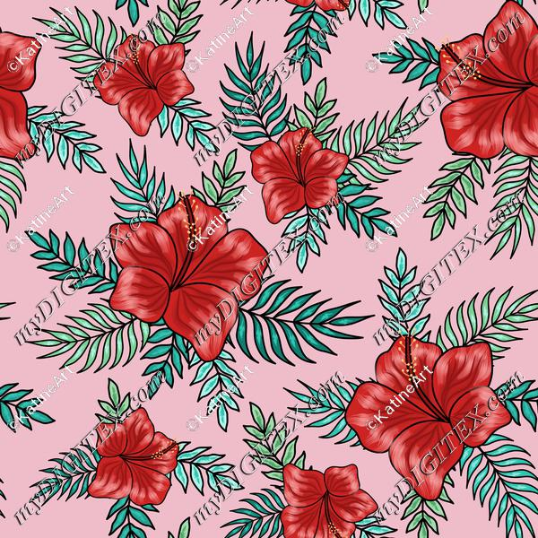 Red hibiscuses with palm tree leaves on pink background