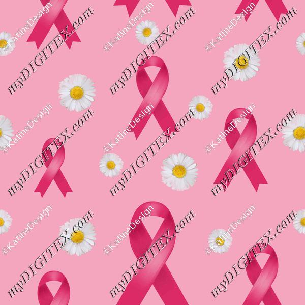 breast cancer pink ribbon and daisies