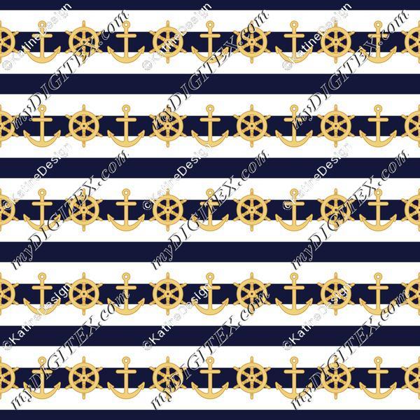 Nautical stripes wheel and anchor