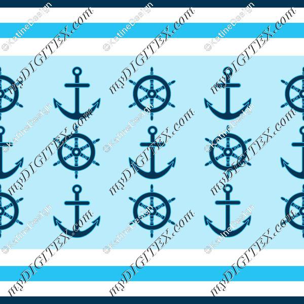 Nautical stripes wheel and anchor2
