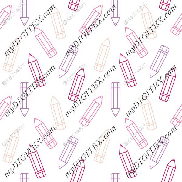 Pink and violet pencils on white background