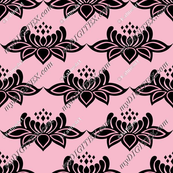 Lotus flowers lace damask. Black flowers on pink background. Victorian style