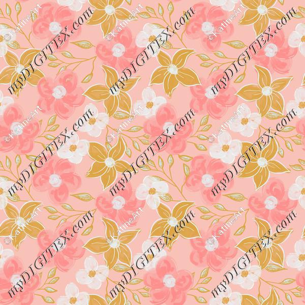 Acrylic flowers on pink background