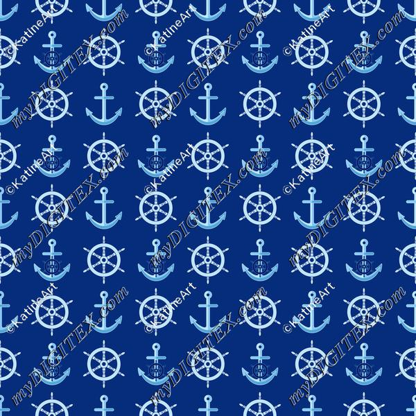 Nautical pattern with steering wheel and anchors on navy blue background