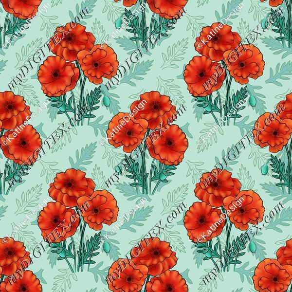 Poppy bouquet blue