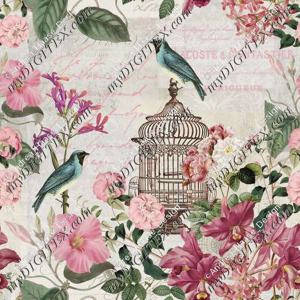 Vintage Birdcage And Flowers