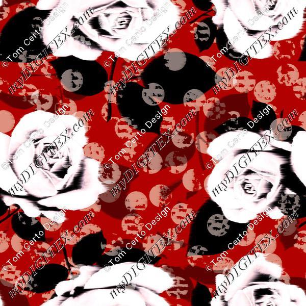 Blur roses dots print