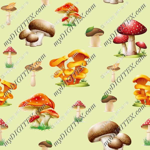 Mushrooms on light Green, Autumn Nature