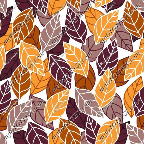 Autumn leaves in brown and orange shades, fall seamless pattern, textile design