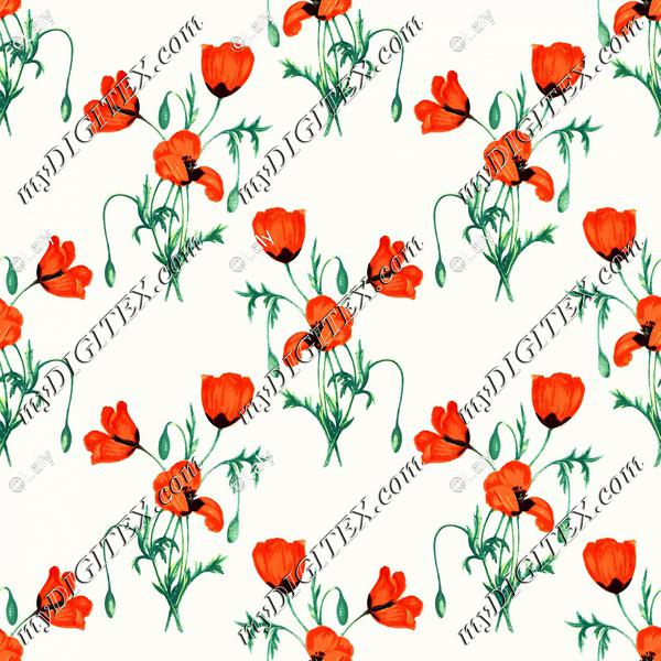 Poppy watercolor pattern