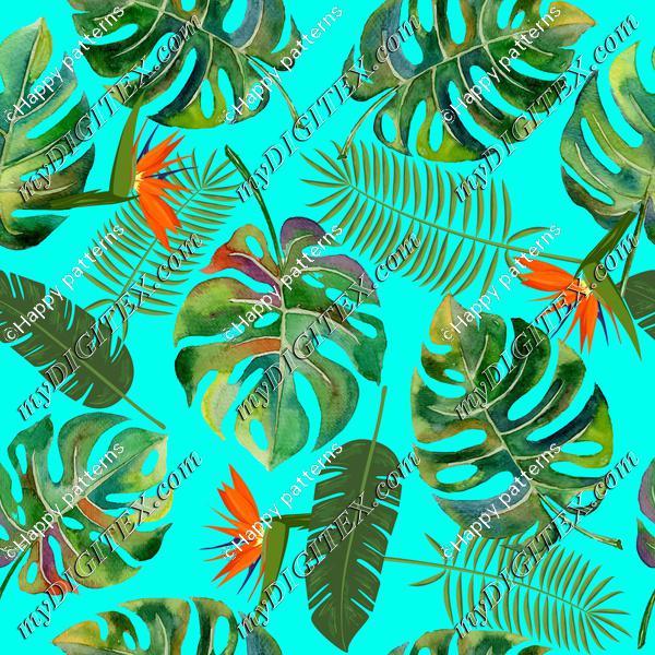 tropical leaves blue