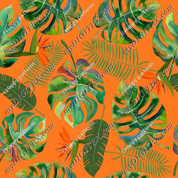 tropical leaves orange