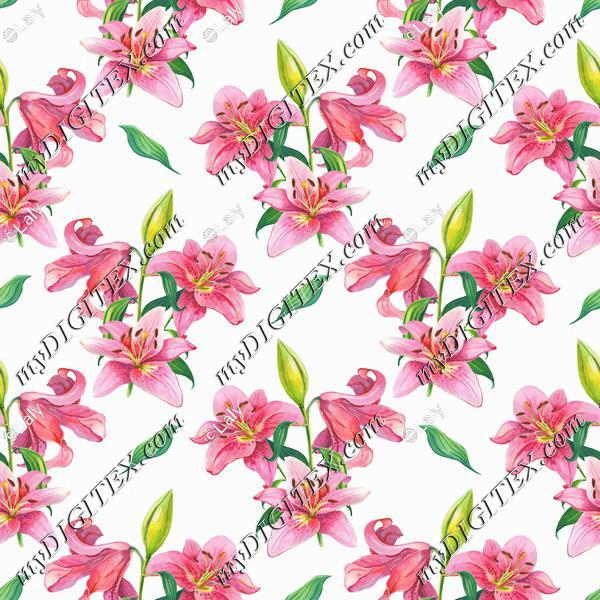 Pink lilies pattern
