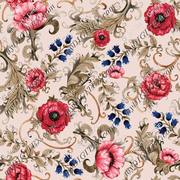 Ornamental floral print