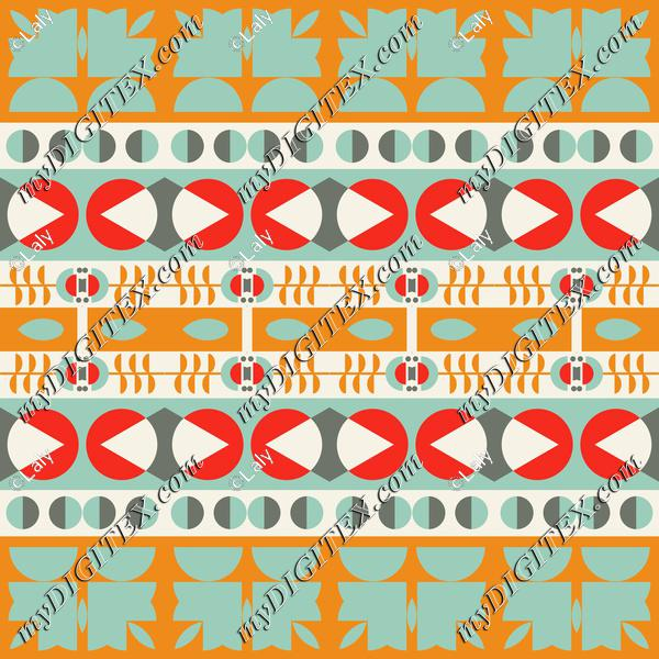 Shapes in retro colors rows