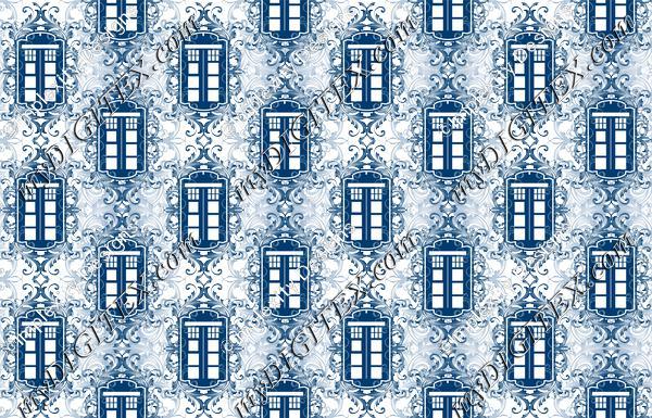 Blue Box Damask