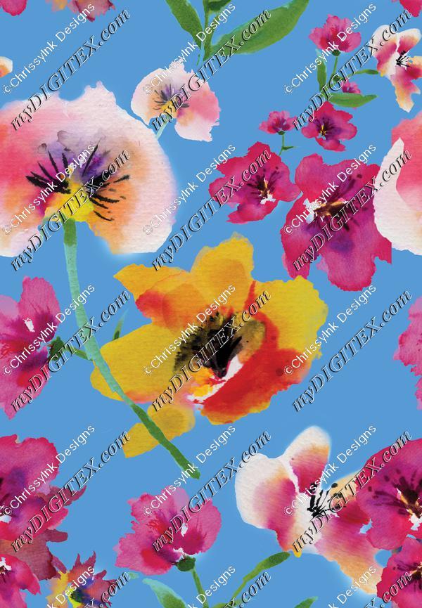 WatercolorFlowerPrintBlue150
