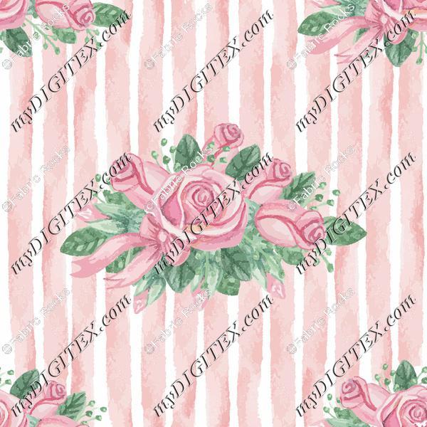 Watercolor Rose Stripes