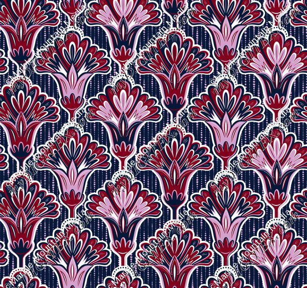Folk Floral - Orchid & Navy