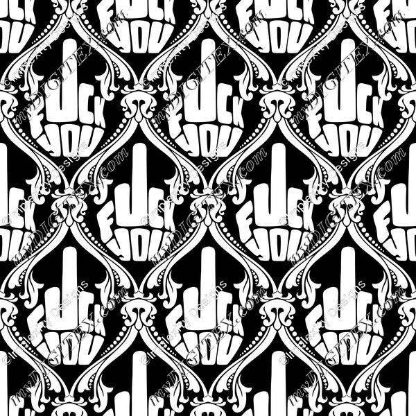 FU Damask (white on black)
