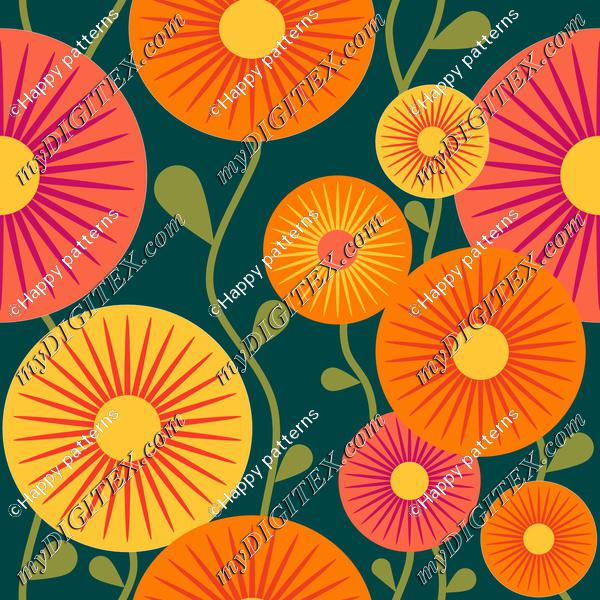 retro flowers orange Quetzal green