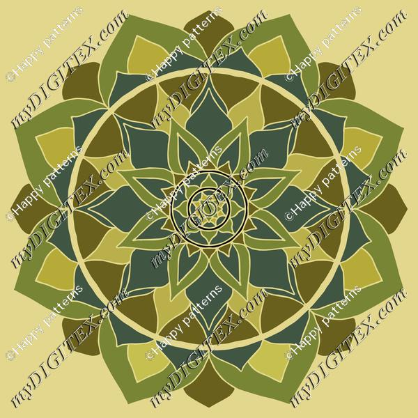 Mandala green, heart chakra mandala