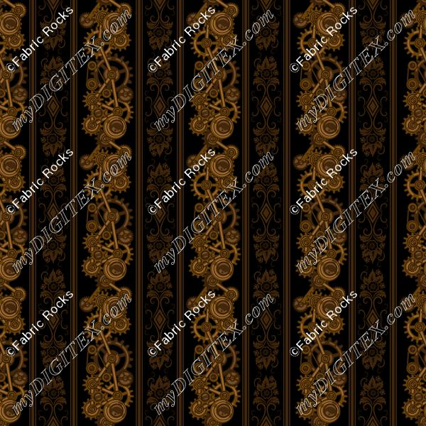 Steampunk Damask Stripes (on black)