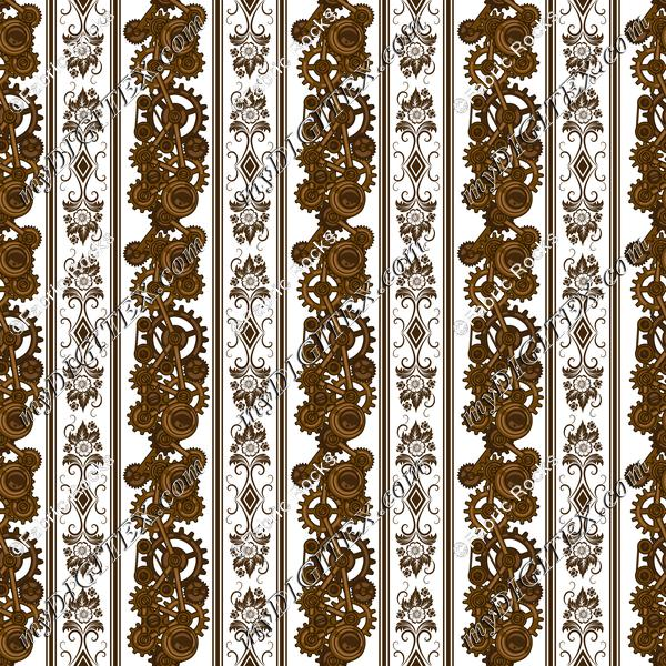 Steampunk Damask Stripes (on white)