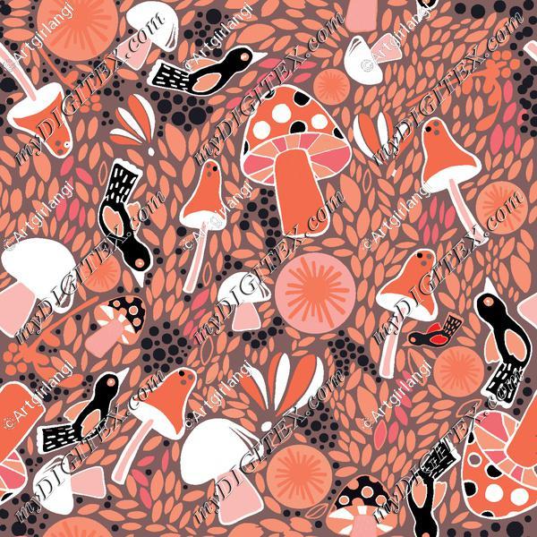 Colorful mushroom pink and black