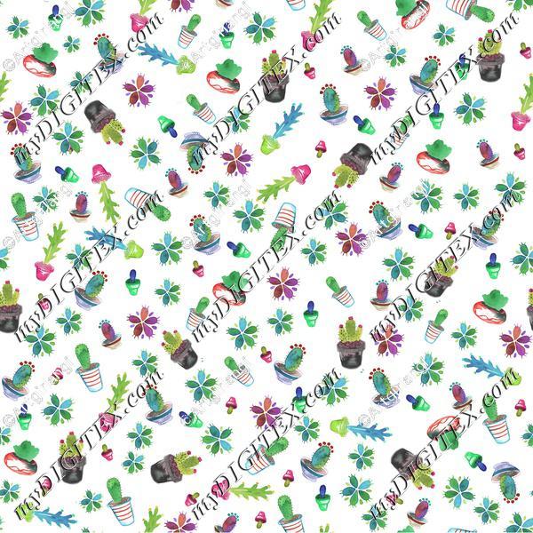 Watercolor Cactus Repeating Pattern flattened