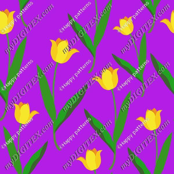 Yellow tulips on purple