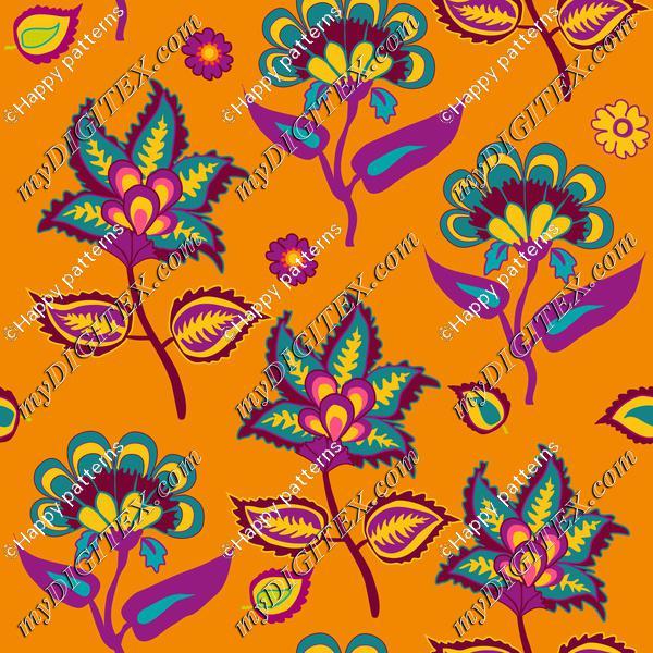 Indian Kalamkari on Orange