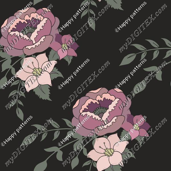 Romantic English Home purple floral on dark