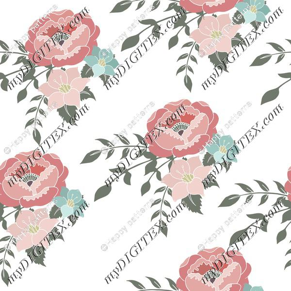 Romantic English home Pink Floral,on White