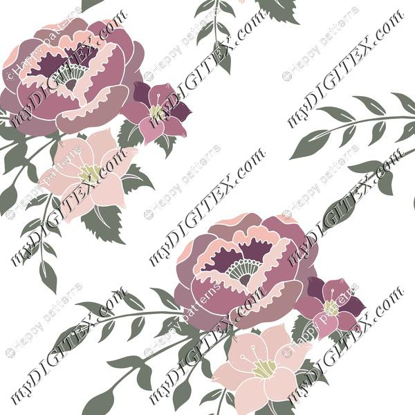 Romantic florals pink and purple English home