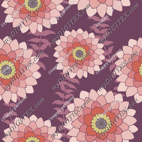 Pink Flowers on Purple