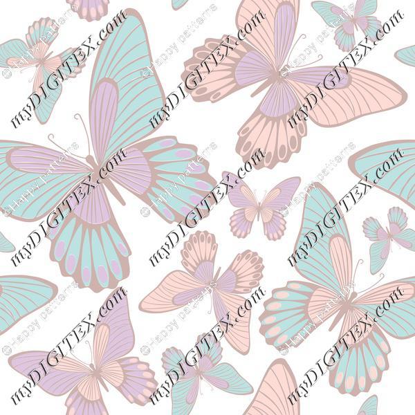 Butterflies light pastel colors