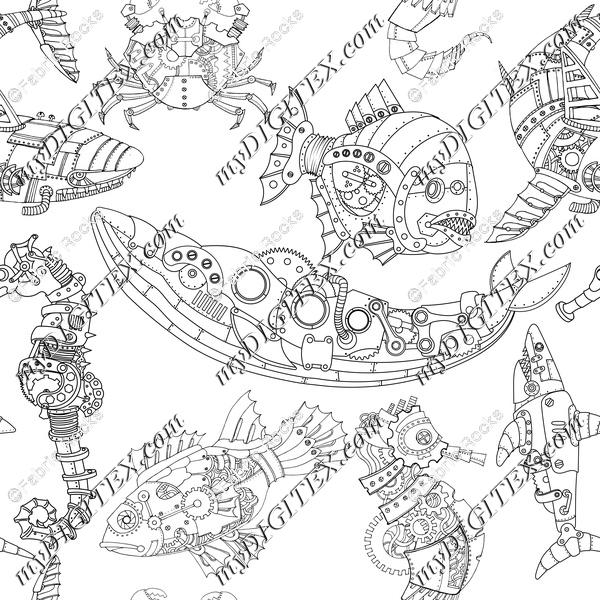 Steampunk Sea Creatures Coloring