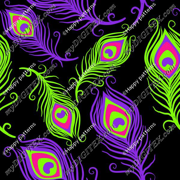 Peacock feathers neon colors