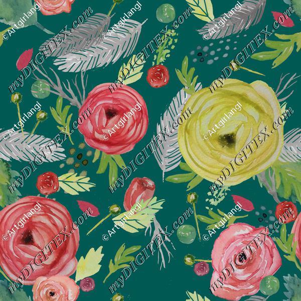 Beautiful Floral Watercolor teal bg.