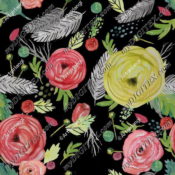 Beautiful Watercolor Floral black bg.