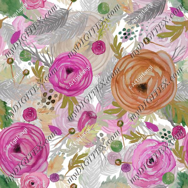 Beautiful Watercolor Floral Multi-layered pink and rust