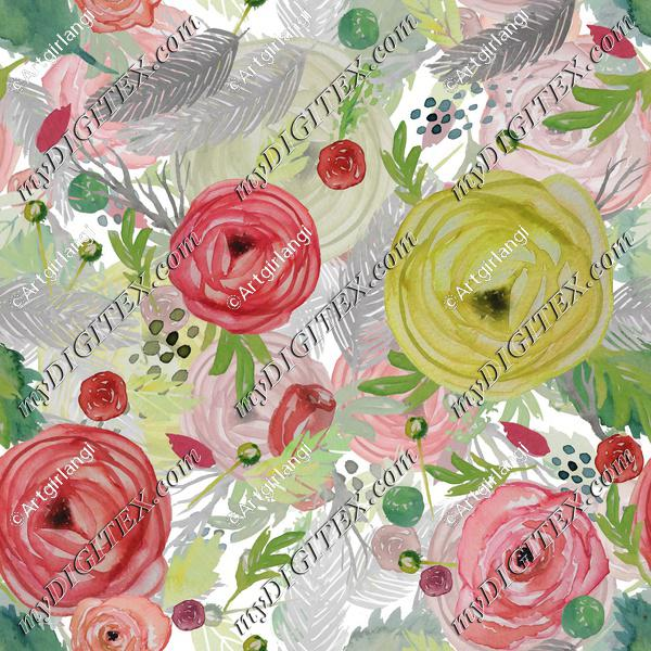 Beautiful Watercolor Floral Multi-layered