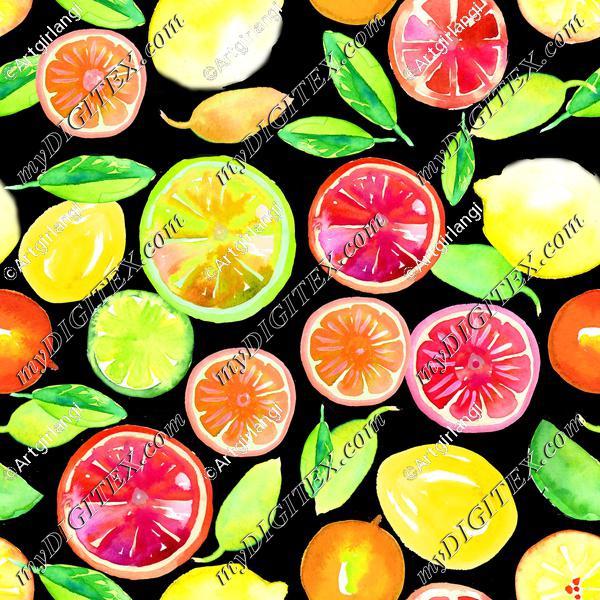 Citrus in Watercolor Black BG