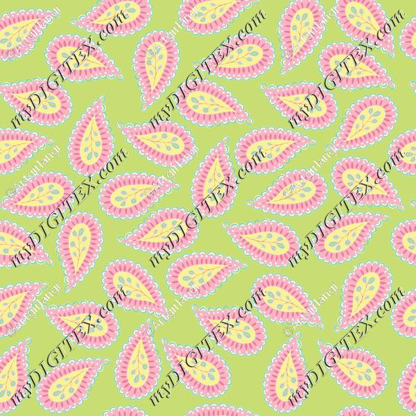 Pastel Paisley coord. green bg-01